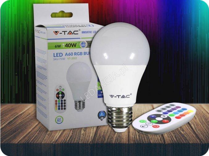 E27 LED RGB Żarówka 6W