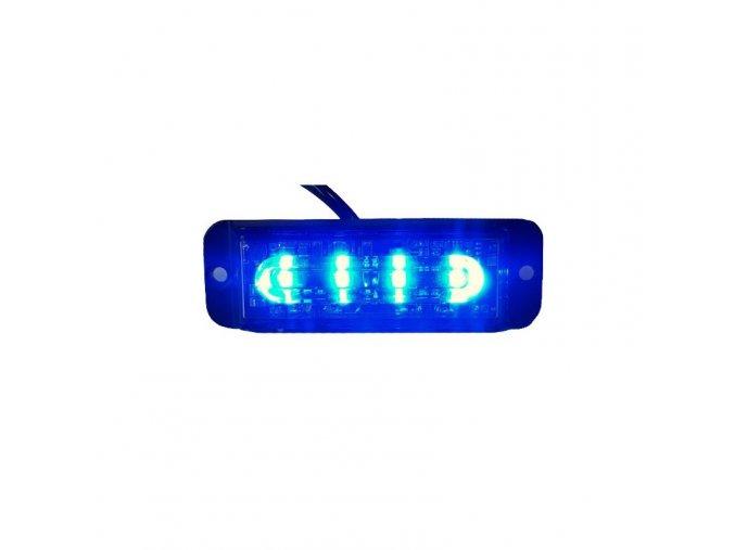 Lampka ostrzegawcza LED 4-LED, niebieska, 12-24V.