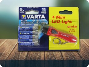 VARTA HIGH ENERGY 4XAA/AAA + MINI LED LATARKA
