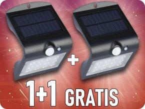 LED Lampa Solarna z czujnikiem ruchu, 1,5W (220 lm),  IP65, czarna, 1+1 gratis!