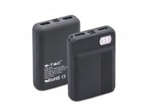 Powerbank, pojemność 10000mAh, wyświetlacz cyfrowy, 2x USB, szary