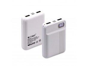 Powerbank, pojemność 10000mAh, wyświetlacz cyfrowy, 2x USB, bialy