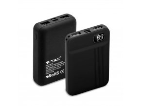 Powerbank, pojemność 10000mAh, wyświetlacz cyfrowy, 2x USB, czarny