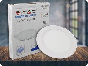 Wbudowany panel LED 12W z zasilaczem, okrągły (1000Lm), SAMSUNG Chip