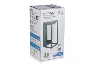 Solarny kinkiet LED, chip Samsung, szary, 2W, 220lm, 3000K, IP65