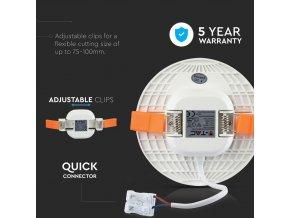 12W panel LED z możliwością montażu, okrągły, 750lm, Samsung chip
