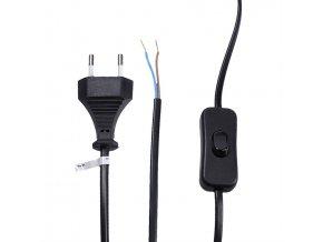 Przewód Flexo 2x0,75mm, 2m, czarny, przełącznik