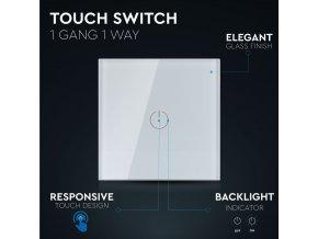 1-przyciskowy  przełącznik dotykowy, biały, maks 500W, IP20