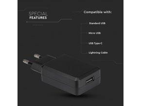 Adapter podróżny USB QC3.0, czarny