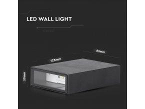 Kinkiet LED prostokątny, 4W, 150lm, 41°, IP65, czarny
