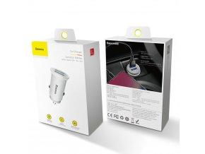 Baseus ładowarka samochodowa Dual QC3.0, 30W, 2xUSB, biała