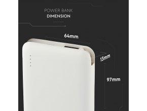 Powerbank 5000mAh z wyświetlaczem LED, wbudowanym kablem micro USB, biały