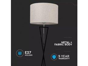 LED Designer Lampka podłogowa, czarna podstawa, okrągły klosz