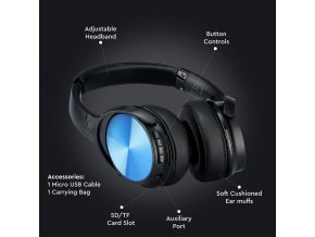 Słuchawki bezprzewodowe BlueTooth 500 mAh, niebieskie, ładowanie 2-3h, maks. 10 godzin wytrzymałości