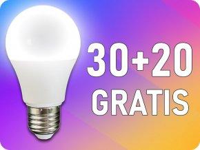 ★E27 LED Żarówka 9W (806 lm),  A60, 30+20 GRATIS!
