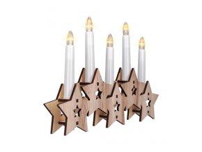 Drewniany świecznik LED Solight, 5xLED, naturalne drewno, 2xAA