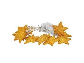Świąteczny łańcuch Solight LED, gwiazdki złote, łańcuch 10LED, 1m, kolor złoty, 2xAA, IP20