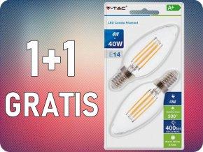 E14 LED RETRO FILAMENT Żarówka 4W (400lm), świeca, 2700K, 1+1 gratis!
