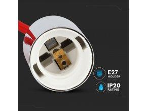 Chromowany uchwyt do żarówki E27, jasnoczerwony