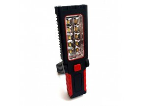 Latarka LED w dłoni + hak + magnes, 10+4 diody LED, baterie w komplecie