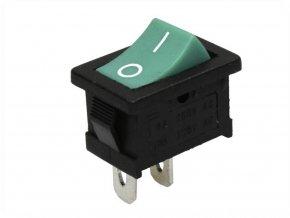 Przełącznik kołyskowy I/O, 6A/250V, zielony