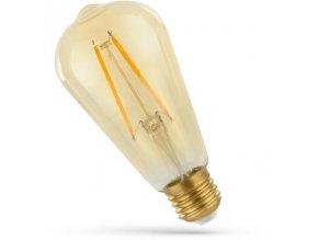Retro żarówka LED E27, ST64, 2W, 240lm, szkło bursztynowe, 2400K