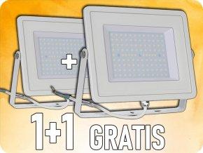 Naświetlacz  SLIM LED 100W (8500LM), biały, 1+1 gratis!