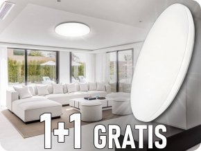 Lampa sufitowa LED 24W, 1440lm, zmiana koloru 3000K-6000K, 1+1 gratis! ✩