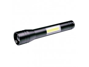Latarka Solight LED metalowa, 3W + COB, 150 + 120lm, 2x AA, czarna