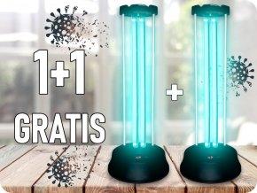 38W Dezynfekująca / bakteriobójcza lampa ultrafioletowa z czujnikiem i timerem, zasięg 60m2, 1+1 gratis!
