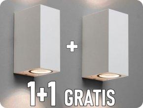 LED LAMPA ŚCIENNA, 2xGU10, IP44, BIAŁA, KWADRATOWA, 1+1 gratis!