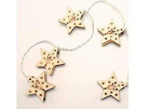 Łańcuch LED gwiazda drewniany 1,35m, 10LED, 3xAA, ciepła biel, bez funkcji, przewód przezroczysty