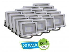 Naświetlacz LED 10W, 800 LM, biały - 20 PACK