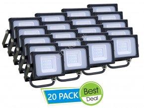 Naświetlacz LED 10W (800 LM), czarny - 20 PACK