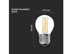 E27 LED Retro Filament Żarówka 4W, g45 (Barwa światła biała zimna)
