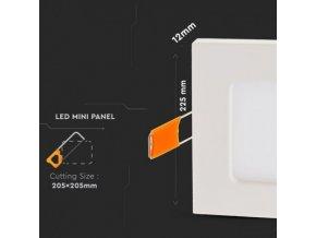 Panel LED kwadrat 225x225x12 mm, Podtynkowy, 18W, 1500Lm (Barwa światła biała zimna)