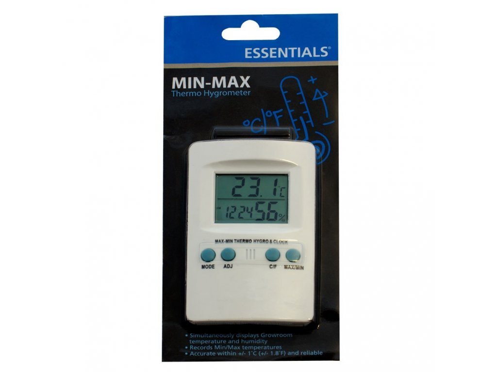 Essentials Digital Thermometer / Hygrometer with Max / Min Memory