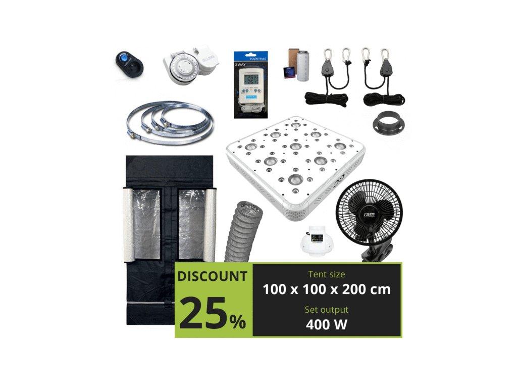MEDIUM 400w (100x100x200cm) + Greenception LED GC-9