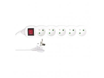 Extension cable with switch 5 sockets 5m 3x 1,5mm