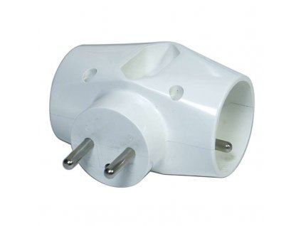 Split socket - 2x round, 1 x flat, white