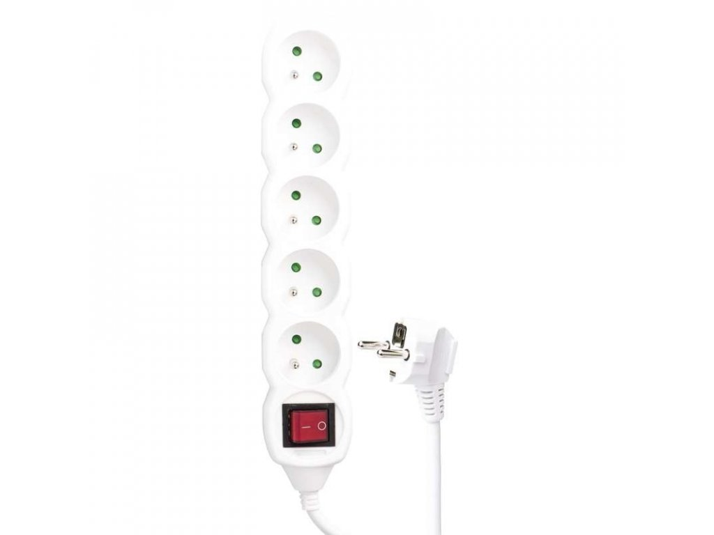 Extension cable with switch 5 outlets 3m 3x1,5mm