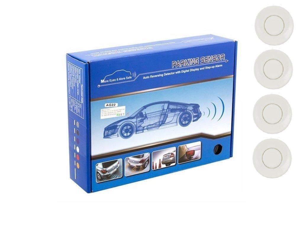 Parkovací systém 4 senzorový - zvuková signalizace i LED panel, O25mm, bílý