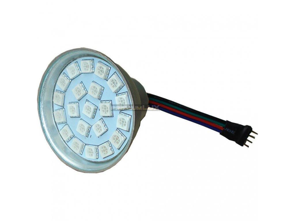PremiumLED RGB LED žárovka 3W 21xSMD5050 12V 4-pin konektor 100lm
