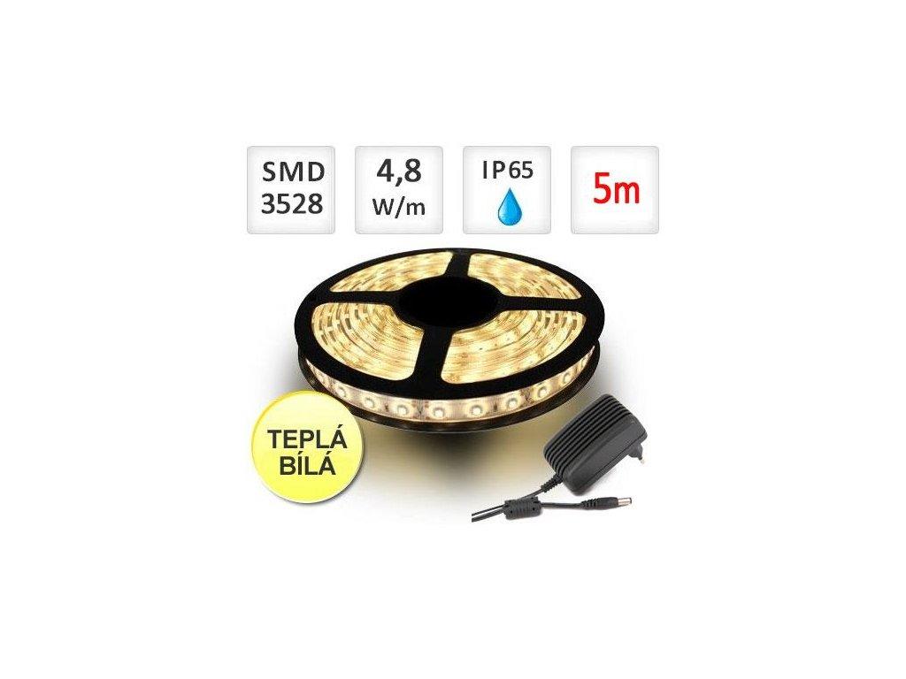 Berge LED pásek 5m sada, 4,8W, 60x3528/m, voděodolný, Teplá + zdroj - ST4733-5m