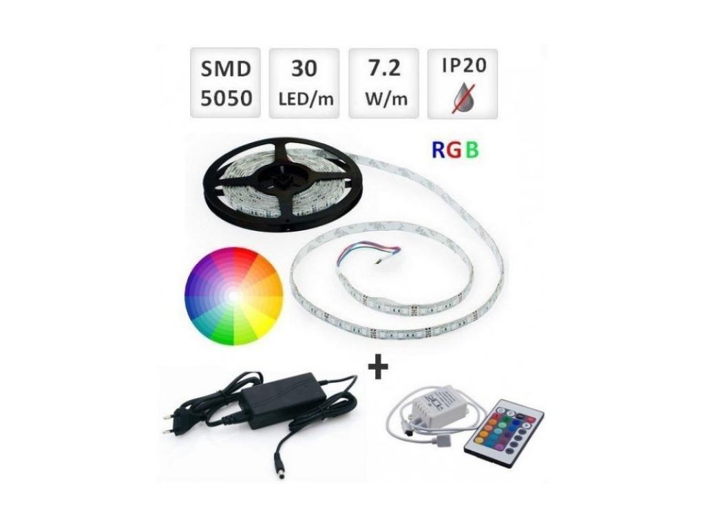 Berge SADA RGB LED pásek 2,5m 30x5050/m + Zdroj + Ovladač - BRG30041-2m