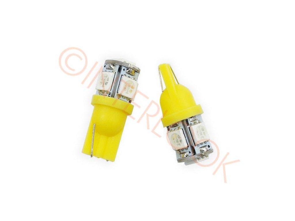 LED autožárovka LED T10 W5W 5 SMD 5050 oranžová