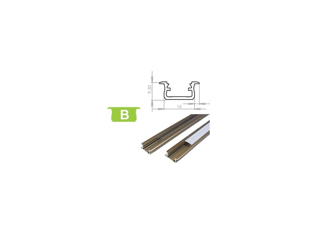 Hliníkový profil LUMINES B zápustný 1m pro LED pásky, inox
