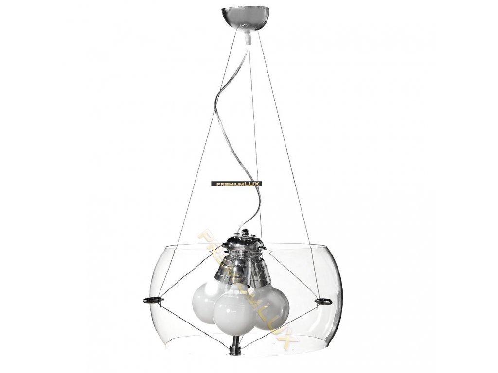 Lampada Designe Stropní závěsné svítidlo LIDIA 400x1500mm 3xE27 transparentní sklo, kov
