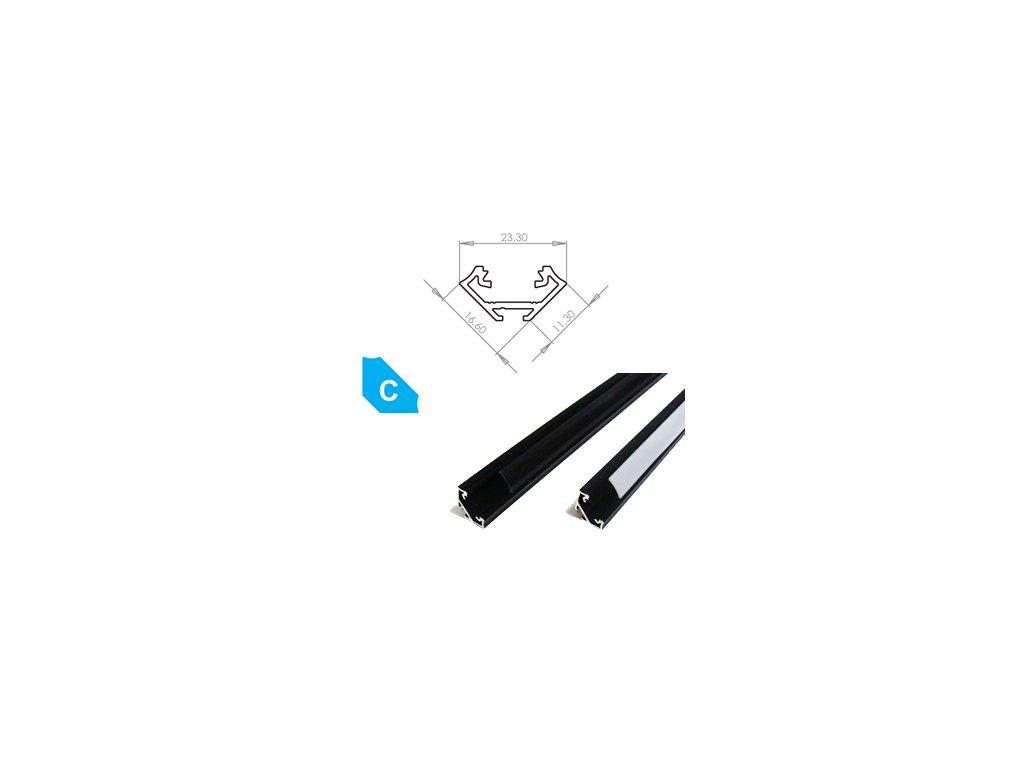 Hliníkový profil LUMINES C 1m pro LED pásky, eloxovaný černý