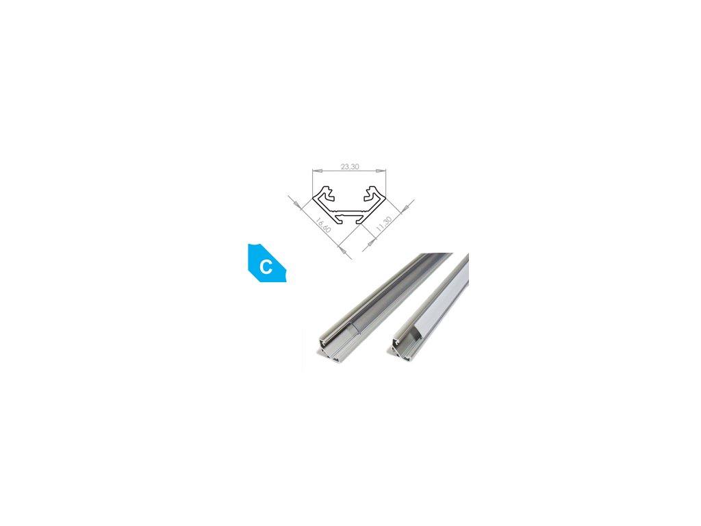 Hliníkový profil LUMINES C 1m pro LED pásky, eloxovaný stříbrný